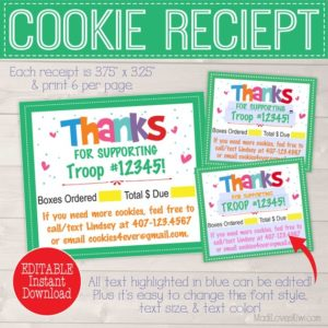 image relating to Girl Scout Cookie Thank You Note Printable titled Woman Scout Cookie Printables - Madi Enjoys Kiwi Electronic Downloads