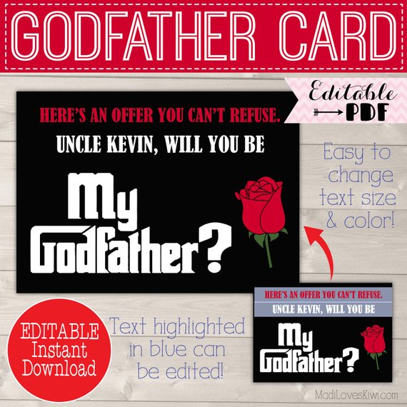Will You Be My Godfather Card, Ask Godfather Proposal, Gift for Godfather Request, Godparents Proposal Christening Card Digital Baptism Card