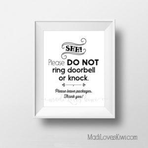 Do Not Disturb Door Sign Printable, Shh Sleeping Baby Digital Hanger, New Mom Gift Ideas Shhh No Solicit Don't Ring Doorbell Shower Download