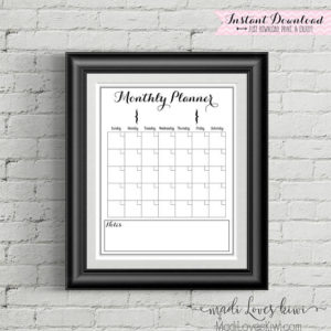 "Printable Monthly Calendar, Family Calendar, Printable Calendar, 16""x20"", Family Planner, Family Organizer, Command Center, Family Schedule"