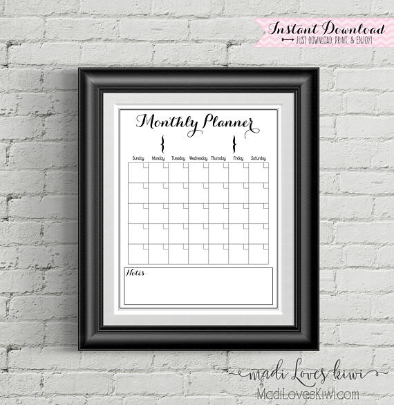 "Printable Monthly Calendar, Family Calendar, Printable Calendar, 16""x20"", Family Planner, Family Organizer, Command Center, Family Schedule"