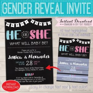 Gender Reveal Invitation Editable, Baby Gender Reveal Party, Gender Reveal Invitation Instant Download, Gender reveal Invitation Printable