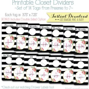 Baby Closet Dividers, Floral Nursery Decor, Printable Dividers, Printable Nursery Closet Organizer, Baby Organization, Baby Shower Gift Girl