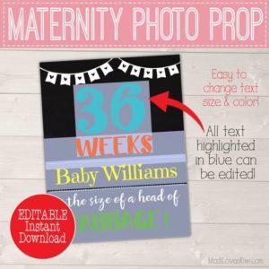 Editable Pregnancy Chalkboard Sign, Pregnancy Week Sign, DIY Pregnancy Photo Prop, Pregnancy Week By Week Chalkboard, Pregnancy Weekly Photo