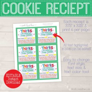 EDITABLE Cookie Receipt, Cookie Thank You Receipt, Cookie Sales Receipt, Cookie Thank You Card, Cookie Printable, Scout Printable, Scout Mom