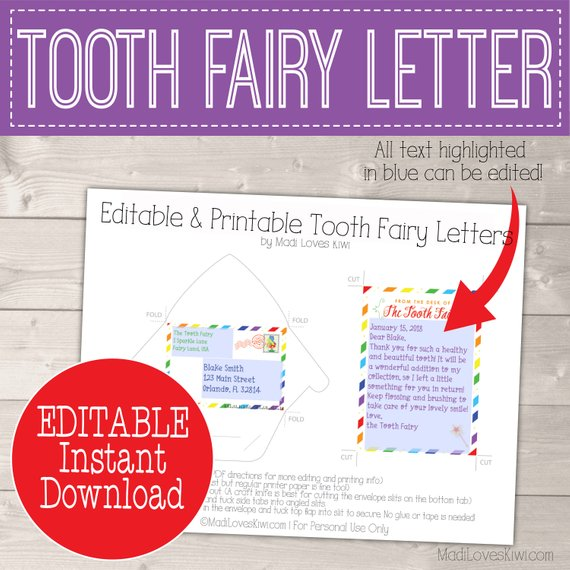 Printable Letter from Tooth Fairy Kit Instant Download, Lost Teeth Tracker PDF Editable Door Hanger First Lost Chart DIY Digital Rainbow Set