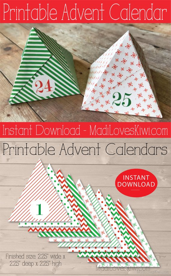 Printable Advent Calendar, Christmas Calendar, Christmas Countdown, DIY Advent Calendar, Printable Christmas Box, Printable Advent Numbers