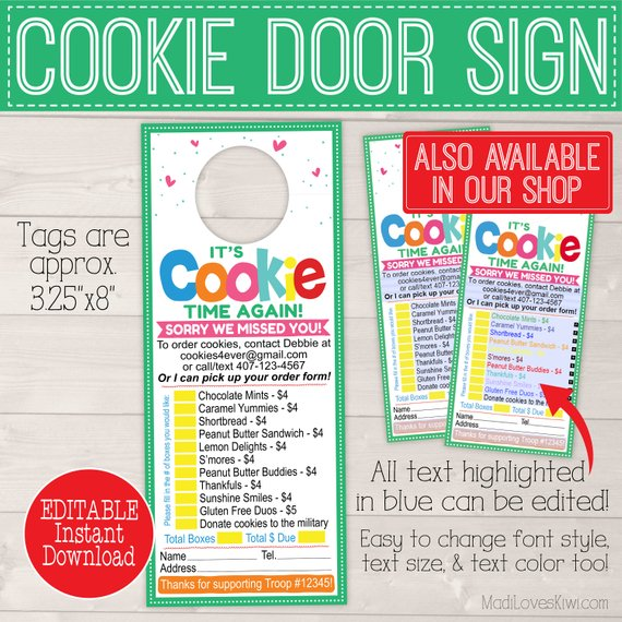 1cEDITABLE Cookie Receipt, Cookie Thank You Receipt, Cookie Sales Receipt, Cookie Thank You Card, Cookie Printable, Scout Printable, Scout Mom