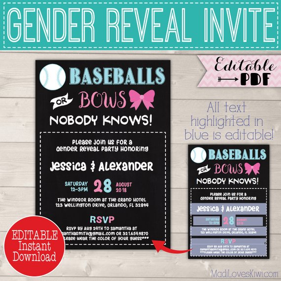 5x7 Baseballs or Bows Gender Reveal Invitation, Digital Party Invites, Editable PDF Printable, He She Baby Card Pink Blue Instant Download
