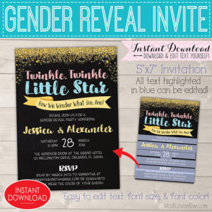 Twinkle Twinkle Little Star Gender Reveal Invitation, Editable Gender Reveal Invitation, 5x7 Gender Reveal Party Invitation Instant Download