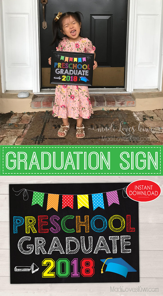 Last Day of School Sign Printable, Preschool Graduation Sign, Chalkboard for 2018 Graduate, Digital Preschool Photo Prop, End of School Year