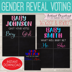 Personalized Gender Reveal Voting Poster, Printable Gender Reveal Party Decorations, Chalkboard Vote Sign, Editable PDF Digital Download Kit