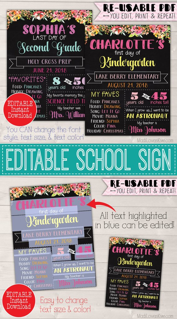 Boho First Day of School Sign Printable, Last Day Poster Digital, End Year Photo Prop 1st Back to Girl Gift Ideas Chalkboard Flower Reusable