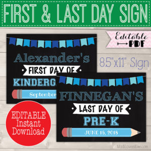 1st Day of School Sign Reusable, Printable Last Day Photo Prop, Back to School Digital Download End of School Year Idea First Chalkboard PDF