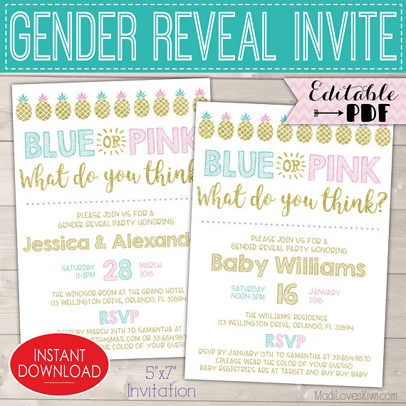 Blue Pink Gender Reveal Invitations, Pineapple Gender Reveal Party Invites Digital Download, Invitation Template Kit Pregnancy Printable PDF