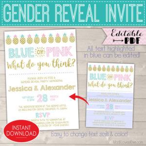 Blue Pink Gender Reveal Invitations, Pineapple Gender Reveal Party Invites Digital Download, Invitation Template Kit Pregnancy Printable PDF