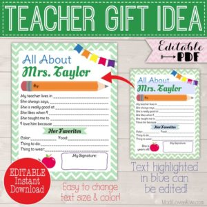 Personalized All About My Teacher Printable, Custom End of Year Teacher Appreciation Gift Idea Editable Memory Book Template Reusable School