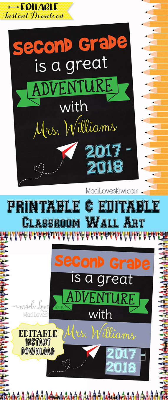 EDITABLE Classroom Sign, Printable Welcome Sign, Class room Wall Art, Personalized Teacher Gift, Back to School Decor, Chalkboard Door Ideas