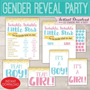 Twinkle Twinkle Little Star Gender Reveal Decorations, Old Wives Tales Chalkboard Sign Printable, Baby Ideas, Vote Team Boy Girl Photo Props