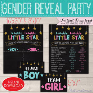Twinkle Twinkle Little Star Gender Reveal Decorations, Printable Old Wives Tale Chalkboard Sign, Vote Ideas Team Baby Boy Girl Digital Decor