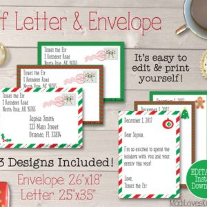 Personalized Elf Letter, Customized Letter from Elf, MINI Elf Letter Template, Printable Christmas Envelope, Printable Notes from Elf