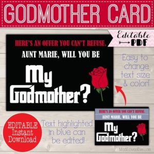 Will You Be My Godmother Card, Ask Godmother Proposal, Gift for Godmother Request, Godparents Proposal Christening Card Digital Baptism Card