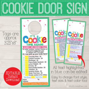 EDITABLE Cookie Sale Door Hanger Printable, Cookie Sales Door Sign, Cookie Order Form, Cookie Printable, Cookie Door Hanger, Scout Printable