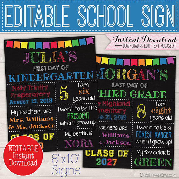 Reusable First Day of School Sign, 8x10 Last Day Printable Poster, Back to School Chalkboard, 1st Photo Prop Rainbow End of Year Digital PDF