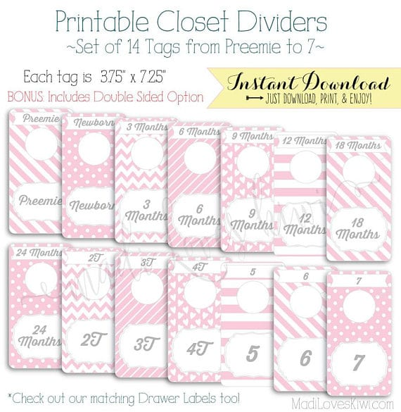 Baby Closet Dividers, Printable Dividers, Printable Nursery Closet Organizer, Baby Girl Nursery Decor, Baby Organization, Baby Shower Gift