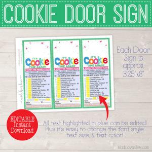 EDITABLE Cookie Sale Door Hanger Printable, Cookie Sales Door Sign, Cookie Order Form, Cookie Printable, Cookie Door Hanger, Scout Printable