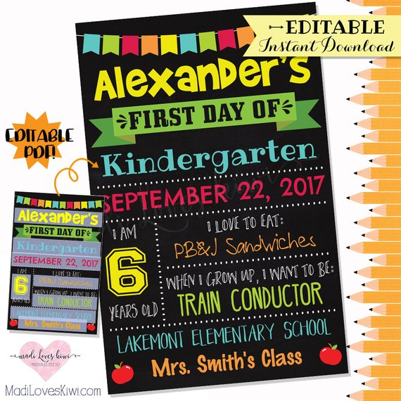 Reusable First Day of School Sign, Printable Back to School Chalkboard Photo Prop, Digital 1st Day Editable PDF Template Instant Download