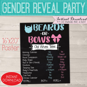 Beards or Bows Gender Reveal Decorations, Old Wives Tales Chalkboard Sign Printable, Baby Gender Reveal Party Ideas, Digital Download Decor