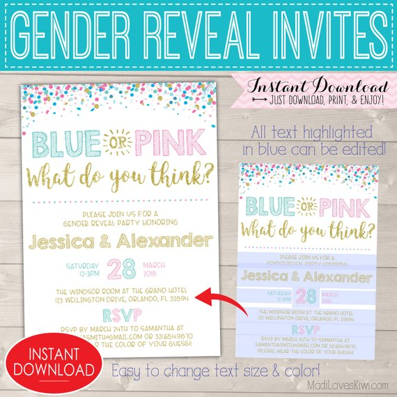 Blue Pink Gender Reveal Invitations, Party Invites Digital Download, Baby Invitation Template Pregnancy Invite Custom Printable Girl Boy PDF
