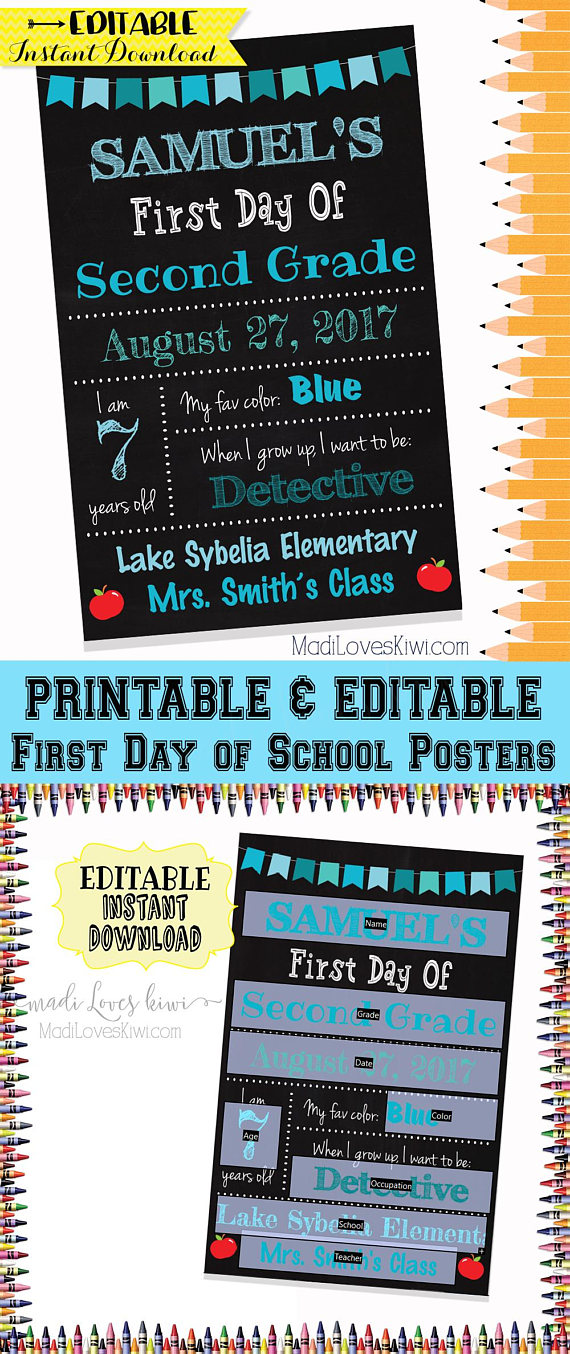 First Day of School Sign Printable, 1st Day Chalkboard Photo Prop EDITABLE PDF Template Digital Back to School Poster Instant Download Reuse