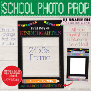 1st Day of School Sign Reusable Photo Prop Frame, First and Last Day Chalkboard Instant Download, Rainbow PDF Printable Back to End of Year