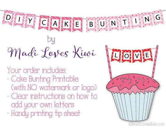 Cake Bunting Printable, Cake Bunting Topper, Cake Bunting Banner, Cake Flags, Cake Banner Topper, Cake Flag Banner, DIY Cake Topper Banner