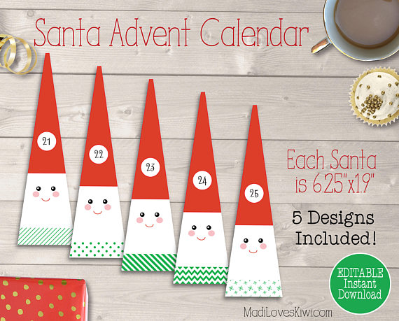 Santa Calendar, Advent Calendar Printable, Christmas Countdown, Printable Christmas Calendar, DIY Advent Calendar, Printable Advent Numbers