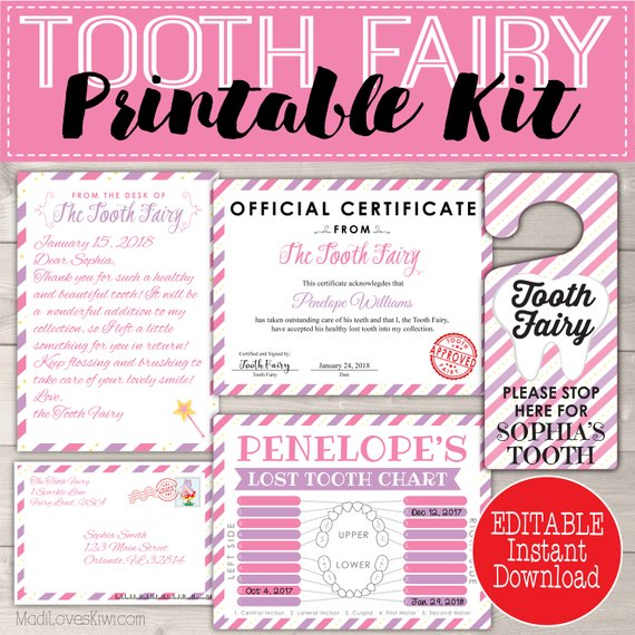 picture regarding Tooth Fairy Certificate Printable Girl named Enamel Fairy Package for Women Editable Letter, Doorway Hanger