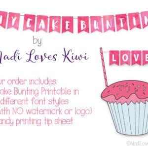 Cake Bunting Banner, Cake Flag Banner, Cake Bunting Topper, Cake Bunting Printable, DIY Cake Topper Banner, Cake Banner Topper, Cake Flags
