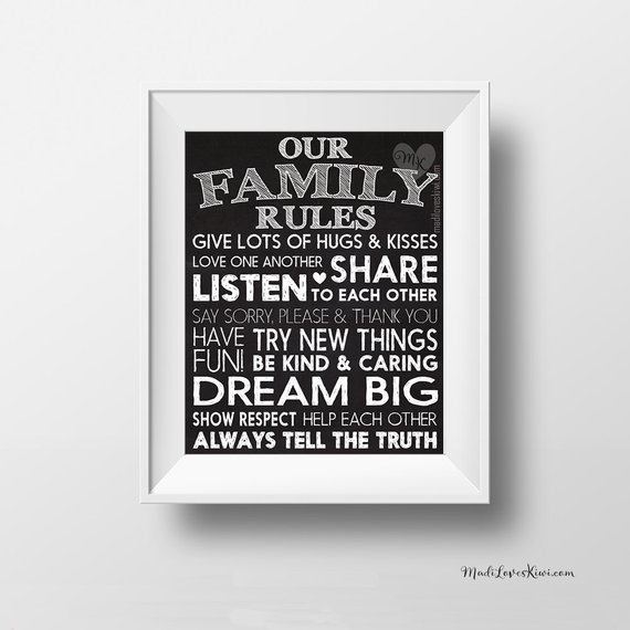 Family Rules Sign Printable, Chalkboard Kitchen Decor, House Rules Sign, Digital Playroom Wall Art, Kids Room Home, Housewarming Gift Ideas