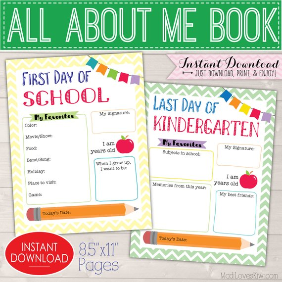 All About Me Book Kit, First & Last Day of School Memory Book, Kids Yearly Interview Questions, Childrens Journal Student Yearbook Scrapbook