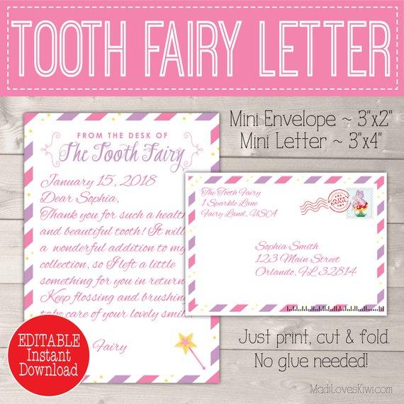 Tooth Fairy Kit For Girls Editable Letter Door Hanger Lost