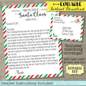 Personalized Letter from Santa, Customized Santa Letter Template, Christmas Letter, Printable Letter from Santa, Christmas Mail
