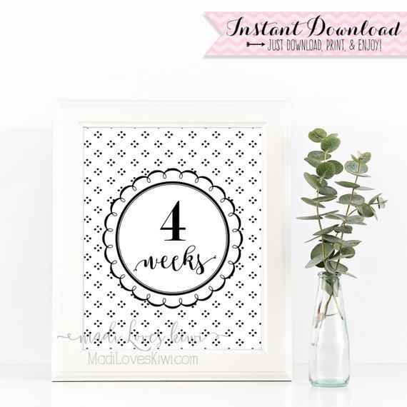 Printable Pregnancy Photo Prop, Black & White Maternity Photoshoot Props, Maternity Photos, Pregnancy Photos, Pregnancy Milestone Cards