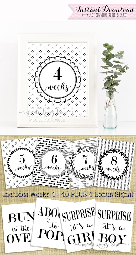 Printable Pregnancy Photo Prop, Black & White Maternity Photoshoot Props, Maternity Photos, Pregnancy Photos, Pregnancy Milestone Cards