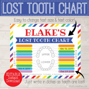 Lost Tooth Keepsake Printable, Digital Tooth Chart, 1st Tracker, Tooth Fairy Gift, Lost Teeth Dental Loss, First Tooth Instant Download PDF