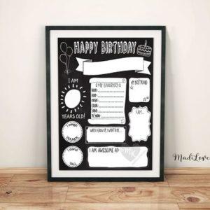 Birthday Chalkboard Template, Reuseable Birthday Sign, Birthday Poster Printable, Printable Birthday Sign, Reuseable Birthday Chalkboard