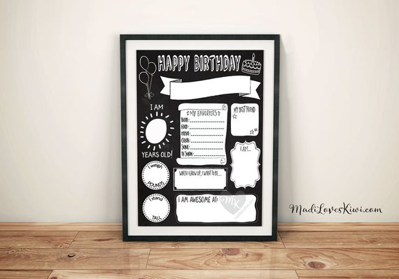 Birthday Chalkboard Template, Reuseable Birthday Sign, Birthday Poster Printable, Printable Birthday Sign, Reuseable Birthday Chalkboard