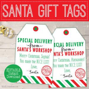 Personalized Christmas Gift Tags, Printable Santa Gift Tags, Personalized Santa Tags Printable, Personalized Christmas Tags From Santa