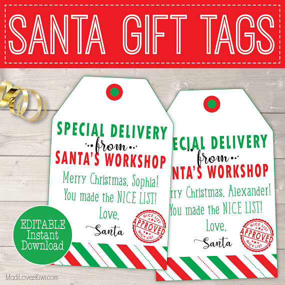 Personalized Christmas Gift Tags, Printable Santa Gift Tags, Personalized Santa Tags Printable, Personalized Christmas Tags From Santa